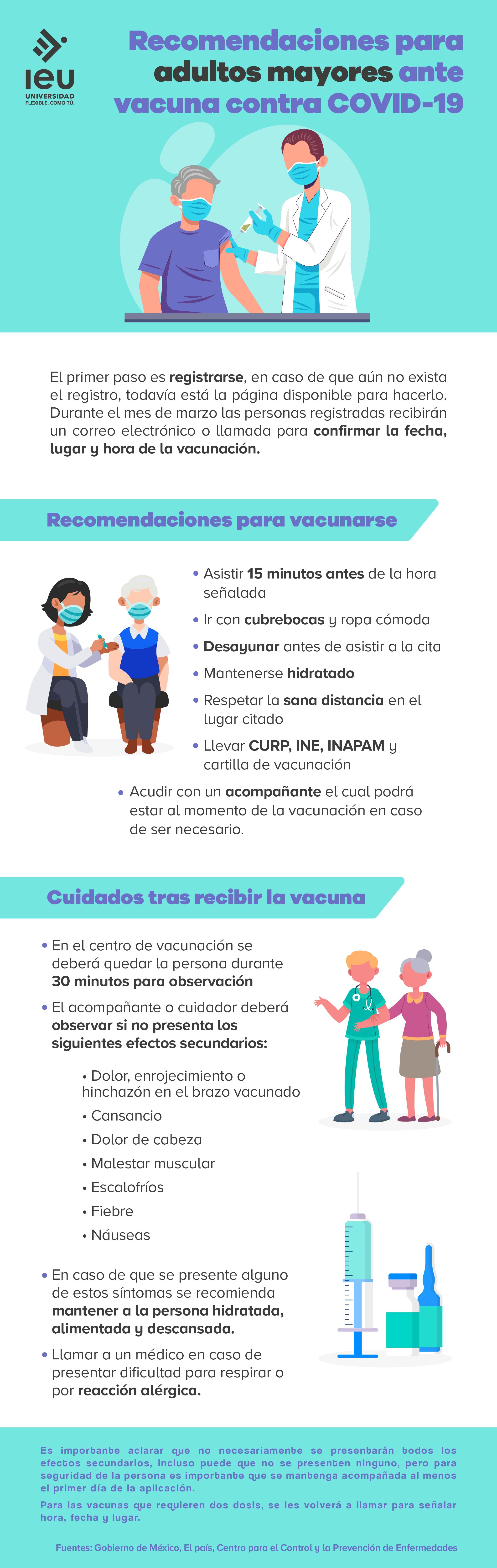 recomendaciones para adultos mayores ante vacuna contra covid 19 infografia