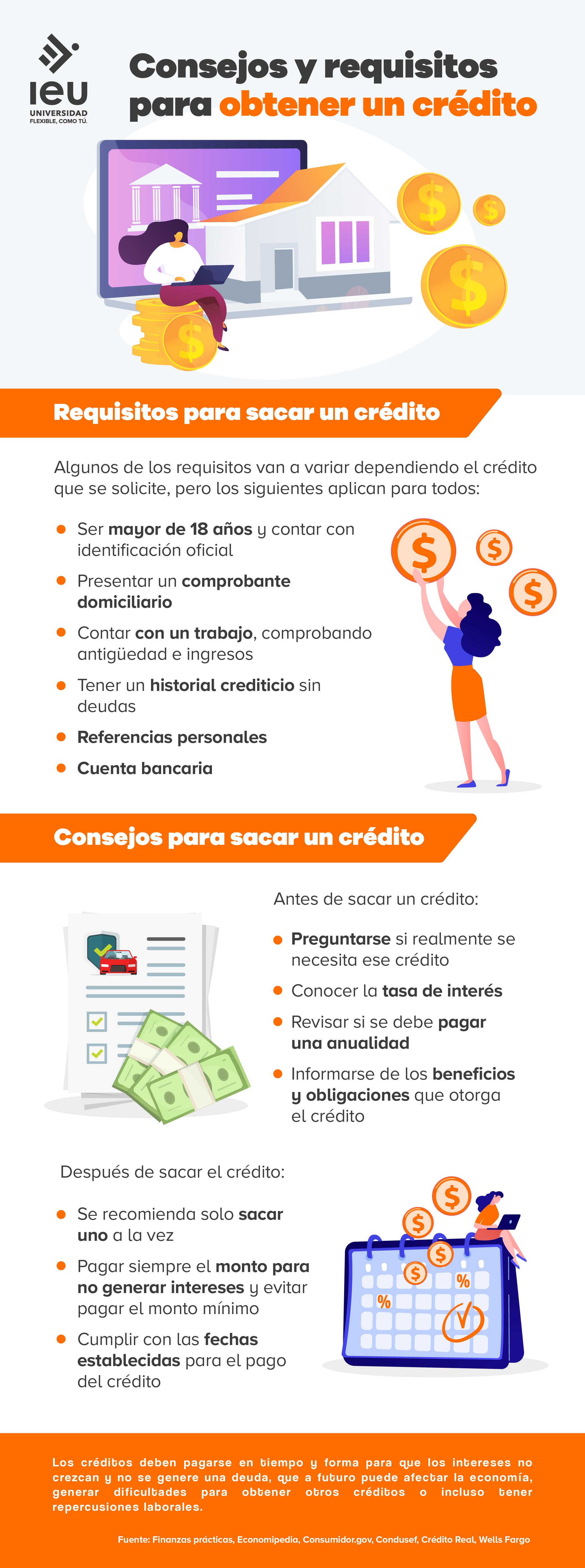 tipo de créditos, consejos y requisitos para obtenerlos infografia