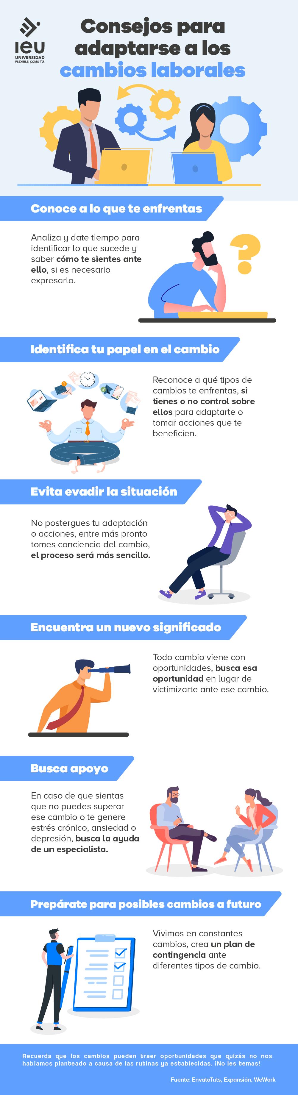 consejos para adaptarse a los cambios laborales infografia