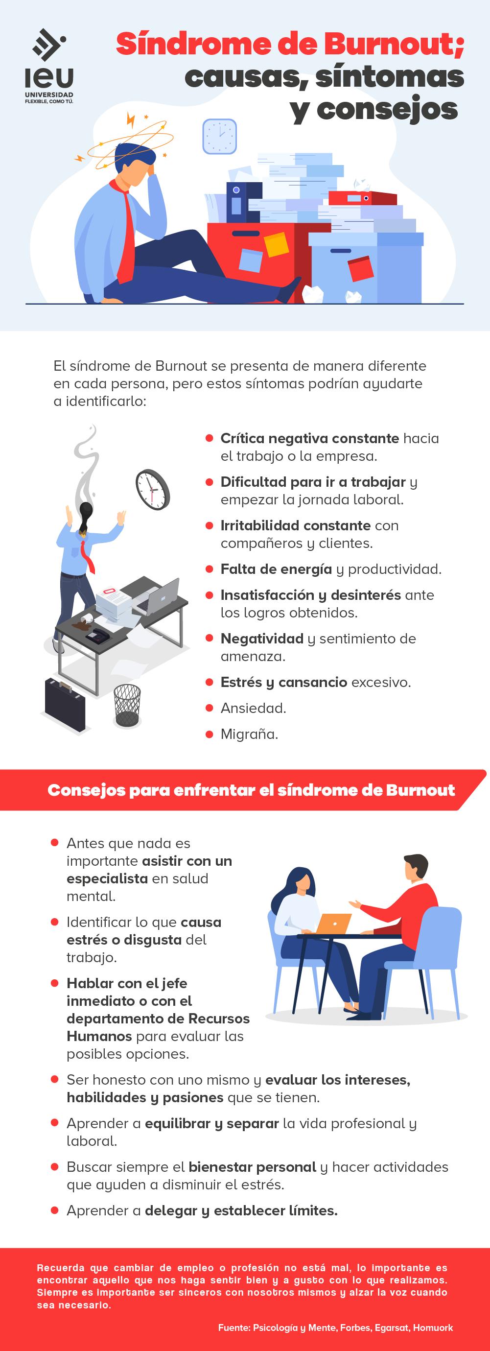 síndrome de burnout causas síntomas y consejos infografia